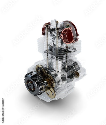 Assembled motorcycle performance engine in transparent case isol