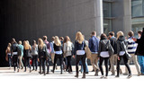 A group of young people. Panorama.