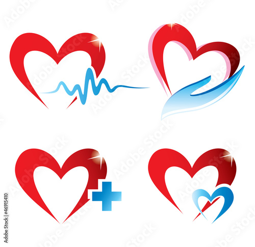 set of hearts icons, medicine concept