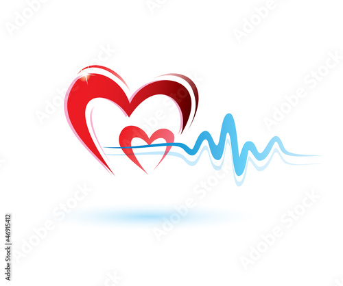 heart with ecg icon, medicine concept