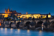 Charles Bridge and Prague Castle in nigth view