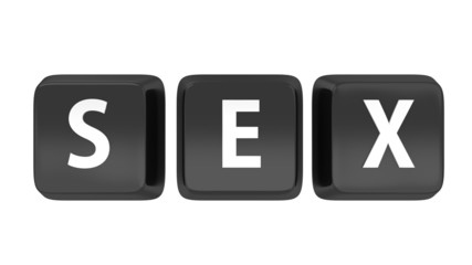 SEX written in white on black computer keys
