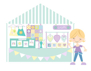 Crafts- Market /Craft fair with stall holder/ Pastel Colourway