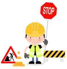 Fun Illustration of Guy Holding Up Stop Sign