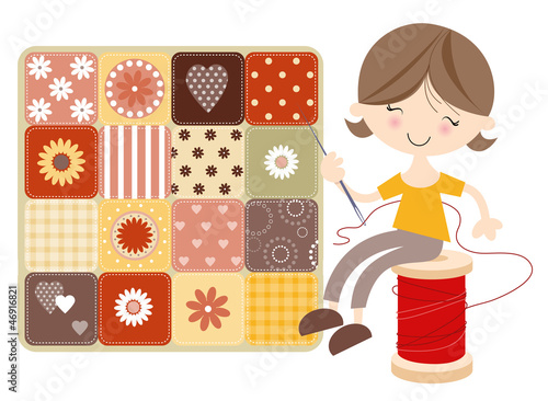 Craft Girl with Patchwork Quilt