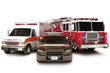 First responder vehicles, on a  white background - 46917456
