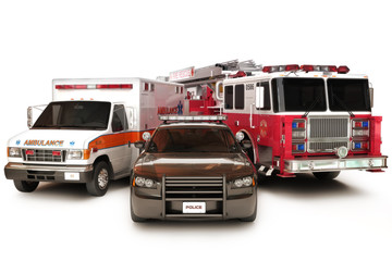 First responder vehicles, on a  white background © storm