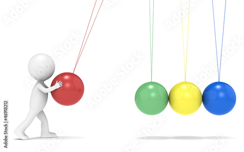 SEO.3D little human character with Newtons Cradle. Side view.