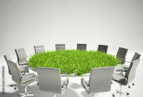 Conference table covered with grass