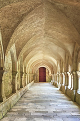 Old colonnaded closter in the Abbaye de Fontenay in Burgundy