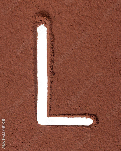 Letter L made of cocoa powder
