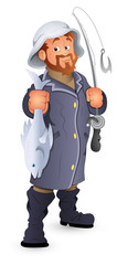 Fisherman Vector Illustration Cartoon