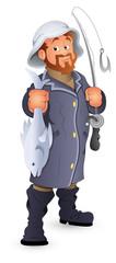 Fisherman Vector Illustration Cartoon