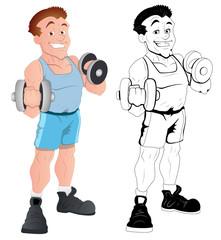 Retro Happy Male Bodybuilder Vector