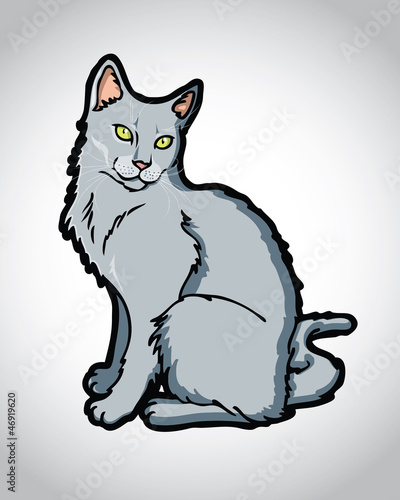 Beautiful Russian blue, chartreux, korat cat vector, cartoon