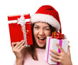The  smiling girl  take presents