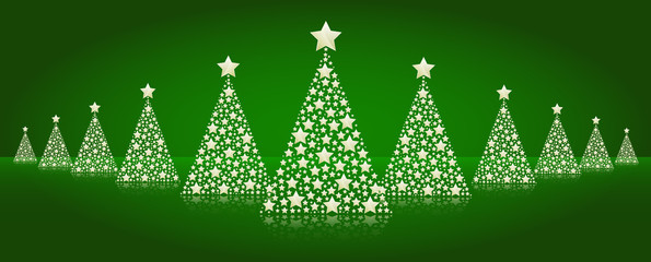 Christmas trees line vector