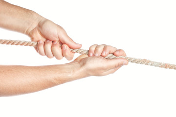 Man pulls something rope with both hands. On a white background.