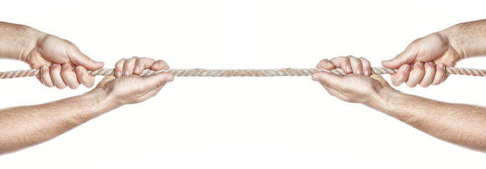 Two people are pulling a rope competing hands. On a white backgr