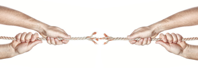 Two men break the rope hands competing. On a white background.