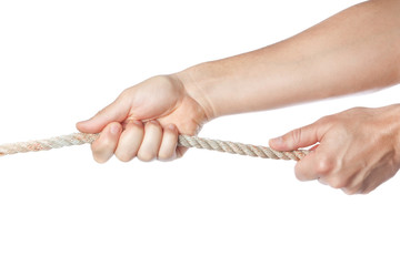 Male hands pulling the rope. On a white background.