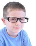 Smart Little Boy with Glasses on White