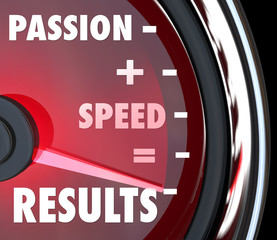 Passion Plus Speed Equals Results Words on Speedometer