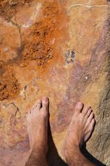 Barefoot on rock