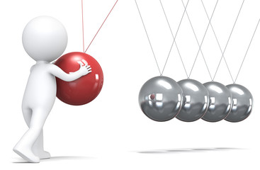 Management.3D little human character pushing a ball in pendulum