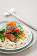 Stir fry beef strips with vegetables and noodles