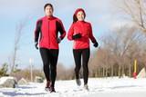 Running - runners exercising in winter