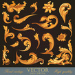 Gold Vintage Elements. Floral ornament. High detail vector