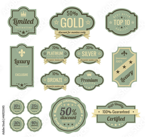 Vintage Labels set. Badge icons. Retro logo template.