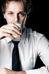 Businessman with milk