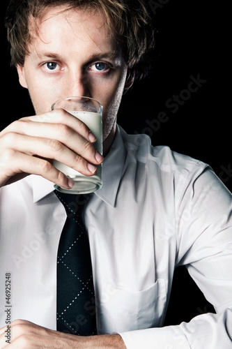 Businessman with milk
