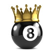 Eight ball with gold crown