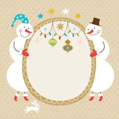 Greeting card, Christmas card with cute snowmen, place for text