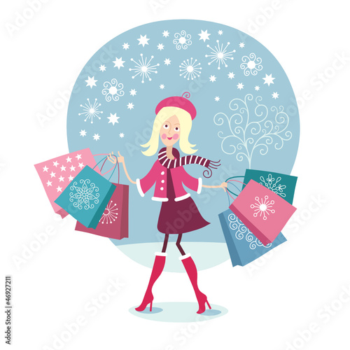 Young girl shopping, Christmas sale