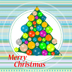 Christmas or new year tree with balls on abstract background