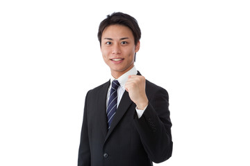 young businessman posing guts