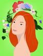 redhair girl with flowers on green