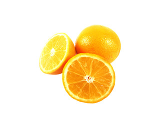 One and Two half oranges isolate on white