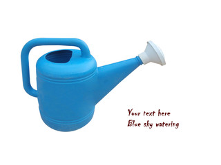 Sky blue watering can. It is isolated on a white background