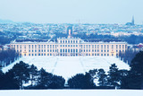 Schonbrunn Palace at winter evening in Vienna, Austria.