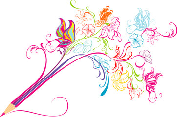 Creative floral pencil. Art concept, vector illustration