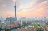 Guangzhou Pearl River and Canton TV Tower in China.