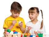 Fototapety Children with Easter eggs