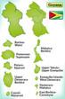 Übersichtskarte von Guyana mit Grenzen und Flagge