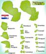 Übersichtskarte von Paraguay mit Grenzen und Flagge
