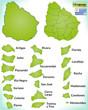 Übersichtskarte von Uruguay mit Grenzen und Flagge